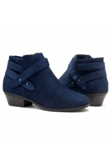 Shoe Land Zarella- Low Stacked Heel Almond Toe Casual Ankle Booties (Navy)