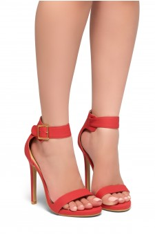 HerStyle Zoanna-Stiletto heel, Strap around the toe, Platform (Red)