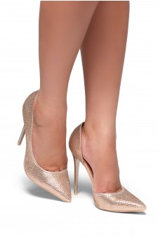 HerStyle Zusien-Pointy toe, Stiletto heel, Crystal Embellishments (Rose Gold)
