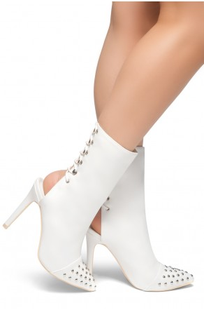 HerStyle Extra- Pointed Toe Back Lace Up Studs Detail Booties(White)