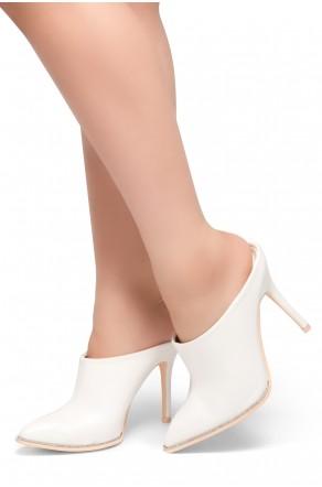 HerStyle Joss- Pointed Toe Rhinestone Details Stiletto Heel Mule(White)