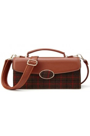 SZ14-LH2-16287- Women's Vintage-style Leather and Plaid Purse (Brown)