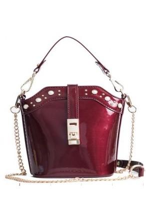SZ14-LH2-16333- Women's Bucket Bag Inspired Metallic Purse (Wine)