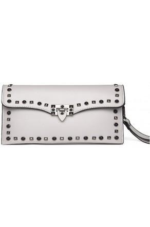 SZ14-LH2-16357- Women's Funky White Clutch With Platinum Studs (Grey)