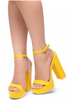 HerStyle MALIKA- Ankle Strap Platform Chunky Heel (Yellow)