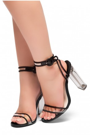HerStyle DOEMMA - Perspex heel ankle strap with an adjustable round buckle (Black)