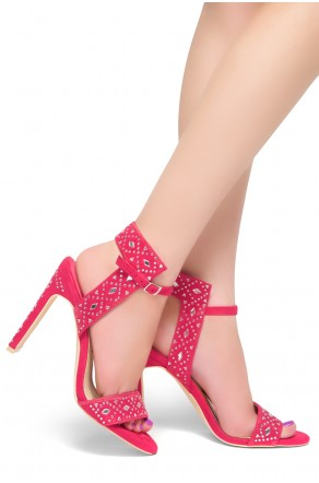 HerStyle Ashton -Open Toe Open Back Stiletto Heel, Jeweled Embellishments (Fuchsia)