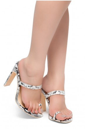 HerStyle Sasseta- Toe Ring Sandal with simple single vamp Strap, open toe, flat Stiletto Heel (Snake)