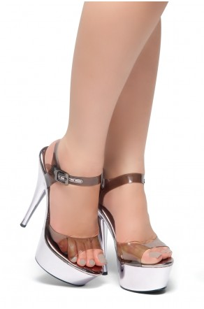 HerStyle Linked- Perspex Ankle Strap and Perspex Vamp Platform Sandals  (Gun)