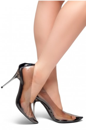 HerStyle LOVE ME TRUE- Perspex Pointed Toe, Clear Stiletto Heel Pumps (Black)