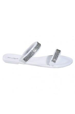 Women's White Manmade Mayreau Flat Jelly Sandal with Rhinestone Bands