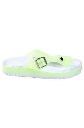 Women's Green Manmade Baude Flat Jelly Sandal with Brilliant Buckle Accent