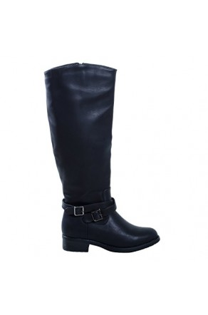 Women's Black Manmade Rassppy Riding Boot with Low Slung Ankle Buckles