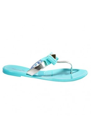 Women's Mint Craze Manmade Flat Jelly Sandal with Glowing Bow Accent