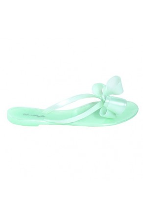 Women's Mint Manmade Quita Flat Jelly Sandal with Ribbon-Style Bow