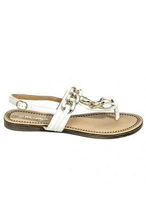 Women's White Manmade Rosewood Flat Sandal with Gold-Tone Strap Accents