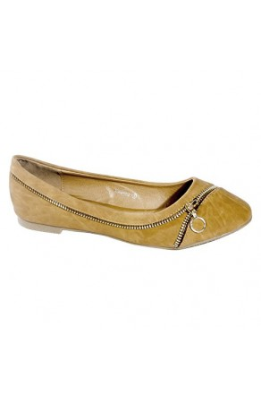 Women's Cognac Gwenna Manmade Flat with Ornamental Side Zipper
