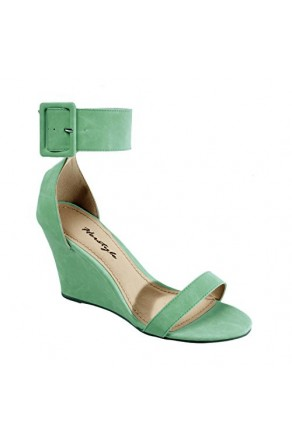 Women's Mint Madie Manmade Wedge Sandal with Generous Ankle Buckle