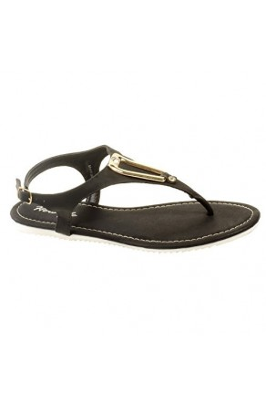 Women's Black Manmade Monttank T-Strap Sandal with Gold-Tone Adornment