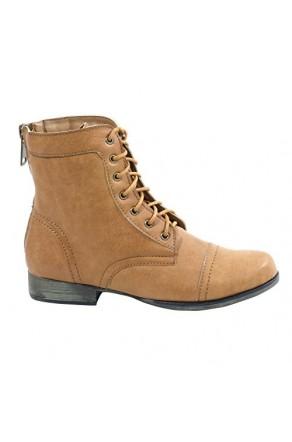 e5672944c094 Women s Cognac Ferrara Manmade Ankle Boot with Faux Back Zipper