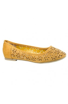 Women's Cognac Manmade Loyalty Ballerina Flat with Shimmering Jewel Accents