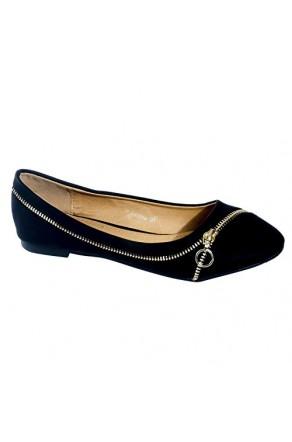 Women's Black Gwenna Manmade Flat with Ornamental Side Zipper
