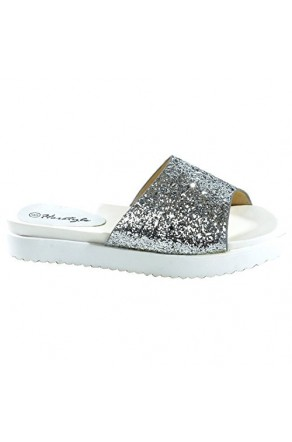 Women's Silver Manmade Shearly Low Wedge Sandal with Glitzy Upper