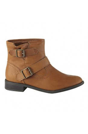 Women's Cognac Reader Manmade Double-Buckle Ankle Bootie
