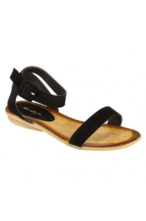 Women's Black Campus Manmade Colorful Ankle Strap Casual Sandal