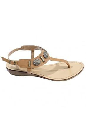 Women's Cognac Veranda Manmade Flat Sandal with Flirty Metallic Accents