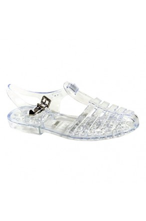 Women's Clear Manmade Bequia Gladiator-Style Jelly Sandal