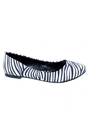 Women's Zebra Fontalina Manmade Round-Toe Animal Print Flat