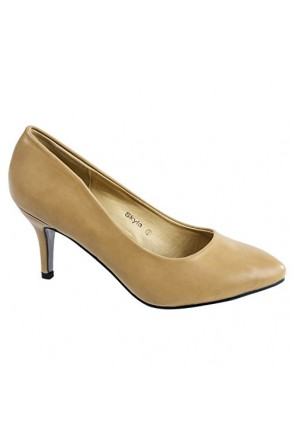 Women's Tan Skylay Manmade Sleek Pointed-Toe Pump Heel