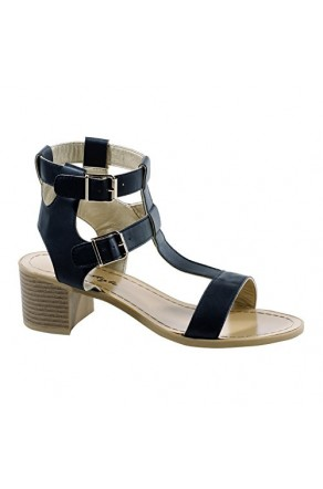 0e0800df9acf Women s Black Carson Manmade Heeled Sandal with Stylish Double Buckle