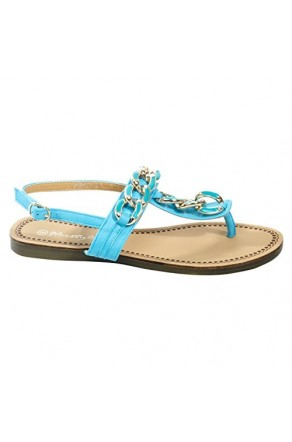 Women's Blue Manmade Porrtt T-Strap Thong with Glowing Gold-Tone Links