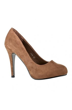 Women's Tan Lexxing 4-inch Manmade Faux Suede Dress Pumps