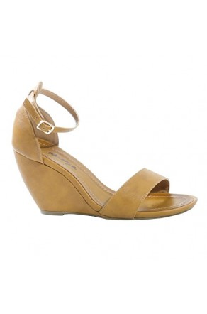 Women's Cognac Manmade Sneliee 3.5-inch Sleek Wedge Sandal