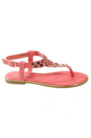 Women's Dark Pink Manmade Lorelle Thong Sandal with Patterned Jewel Vamp