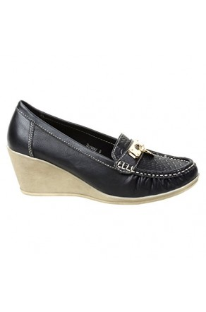 Women's Black Manmade Dorsaay Loafer Wedge with Gold-Tone Charm