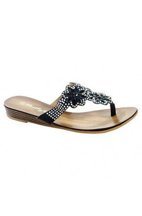 Women's Black Manmade Szanneyy Glittering Floral Thong Sandal
