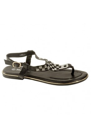 Women's Black Manmade Lorelle Thong Sandal with Patterned Jewel Vamp