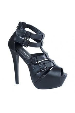 Women's Black Jammon Manmade Platform Sandal with Sleek Buckled Vamp