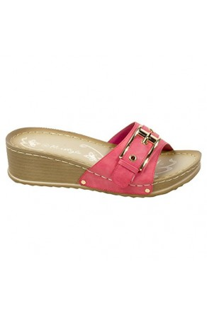 Women's Fuchsia Manmade Jillyy Slide Sandals with Gold-Tone Toe Buckle
