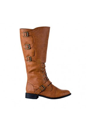 Women's Cognac Derosbey Tall Manmade Combat Boot with Triple Side Buckle