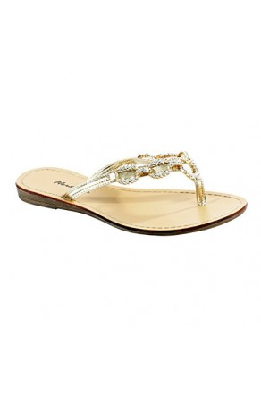 Women's Gold Janiesa Manmade Flat Thong Sandal with Glowing Jeweled Chain