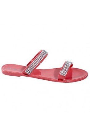 Women's Coral Manmade Mayreau Flat Jelly Sandal with Rhinestone Bands