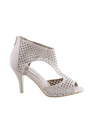 Women's Beige Bailey Pump Sandal with Shimmering Perforated Vamp