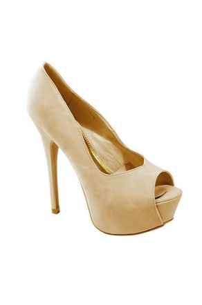 Women's Nude Manmade Caddiee 6-inch Pump Heel with Sultry Peep-Toe