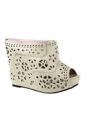 Women's Beige Jenelle Manmade 5-inch Wedge Sandal with Sexy Perforated Wrap