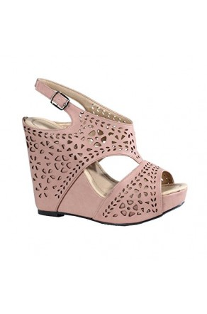 Women's Mauve Marnee 5-inch Manmade Wedge Sandal with Delicate Perforated Straps